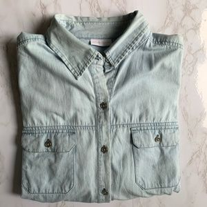 New York & Company Chambray Button Up Top